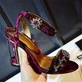 Designer Birdcage Heel Rhinestone Sandals Peep Toe Ankle Warp High Heels Women Pumps Wedding Dress Shoes Woman Stiletto