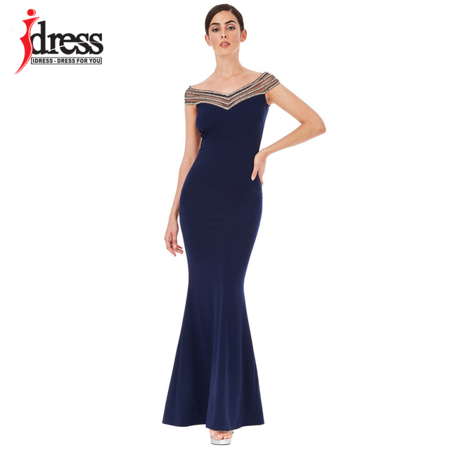 f0bc3aa541 IDress Brand Maxi Dress Black Blue Pink Slash Neck Sequined Solid Color  Bodycon Dress Summer Sexy Prom Party Evening Long Dress