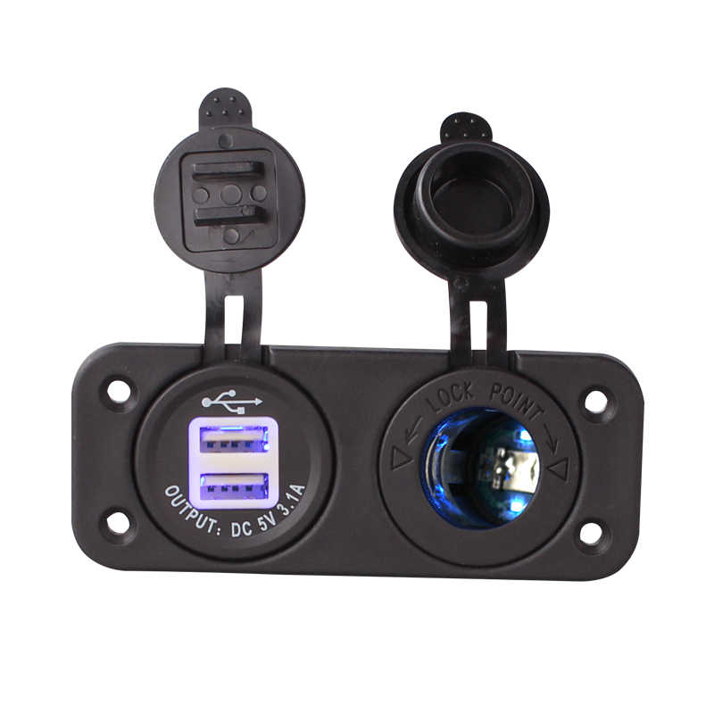 1 Set Blue Led Dual 12V Car Cigarette Lighter Socket Splitter 12V USB 3.1A Power Adapter Charger Digital Voltmeter