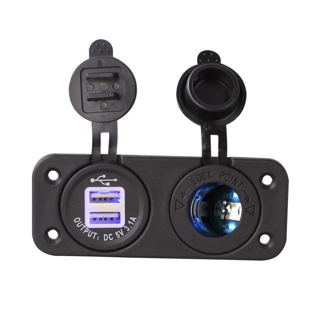 1 Conjunto Azul Led Duplo 12 V Do Cigarro Do Carro Soquete do Isqueiro Splitter 12 V 3.1A USB Carregador Adaptador de Energia Digital voltímetro