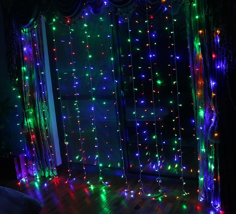 3 M x 3 M 300 LED xmas Dize Peri Perde Garlands Şerit Parti - Şenlikli Aydınlatma - Fotoğraf 3