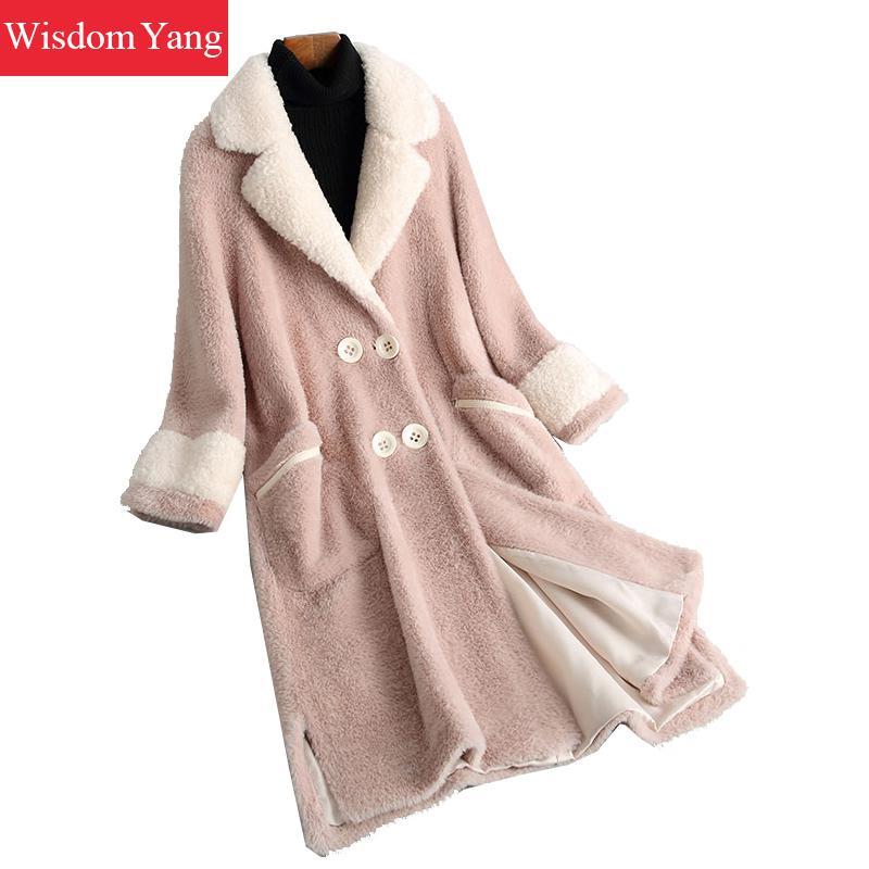 Offies Long Manteau De Chaud Manteaux Rose Pardessus Hiver Coat Dames Laine Mouton Tendance Élégant Col Femmes Streetwear Pink Survêtement Polaire FPX0q