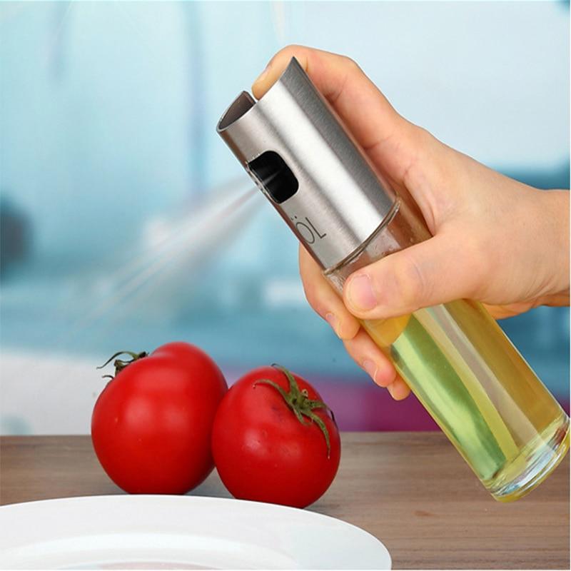 100 мл из нержавеющей стали стеклянный оливковый насос спрей бутылка масляный соус распылитель уксуса горшок кухонные инструменты кухонная посуда для барбекю кухонный инструмент 8