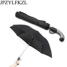 JPZYLFKZL Classical Western Gun Creative Automatic 8K Strong WindResistant foldable umbrella Rain Business Male Quality Parasol