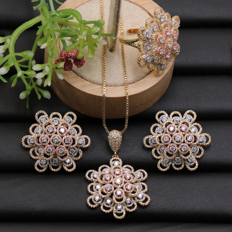 Lanyika Jewelry Set Distinctive Hollow Snow Flower Micro Paved Cubic Zircon Necklace with Earrings and Ring