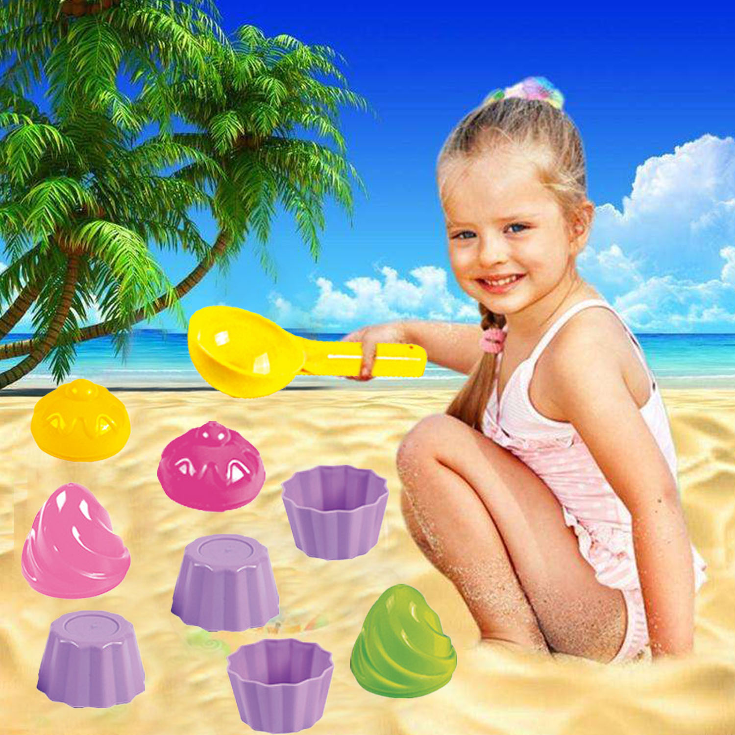 9PCS Kawaii Ice Cream Cake Mold Summer Beach Sand Game Toys Mold Kit For Kids Children Summer Outdoor Funny Beach Sand Mold Toys
