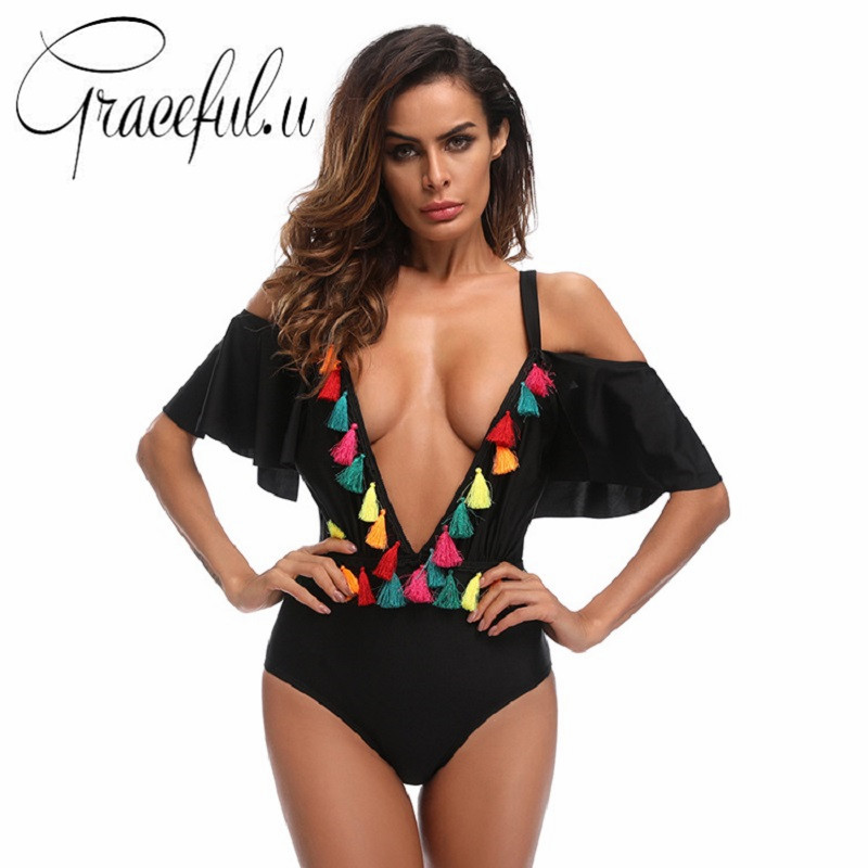 Black Swimwear 2018 One Piece Swimsuit Colorful Tassel Push Up Womens Swimming Suit Beachwear Bathing Suit Biquini