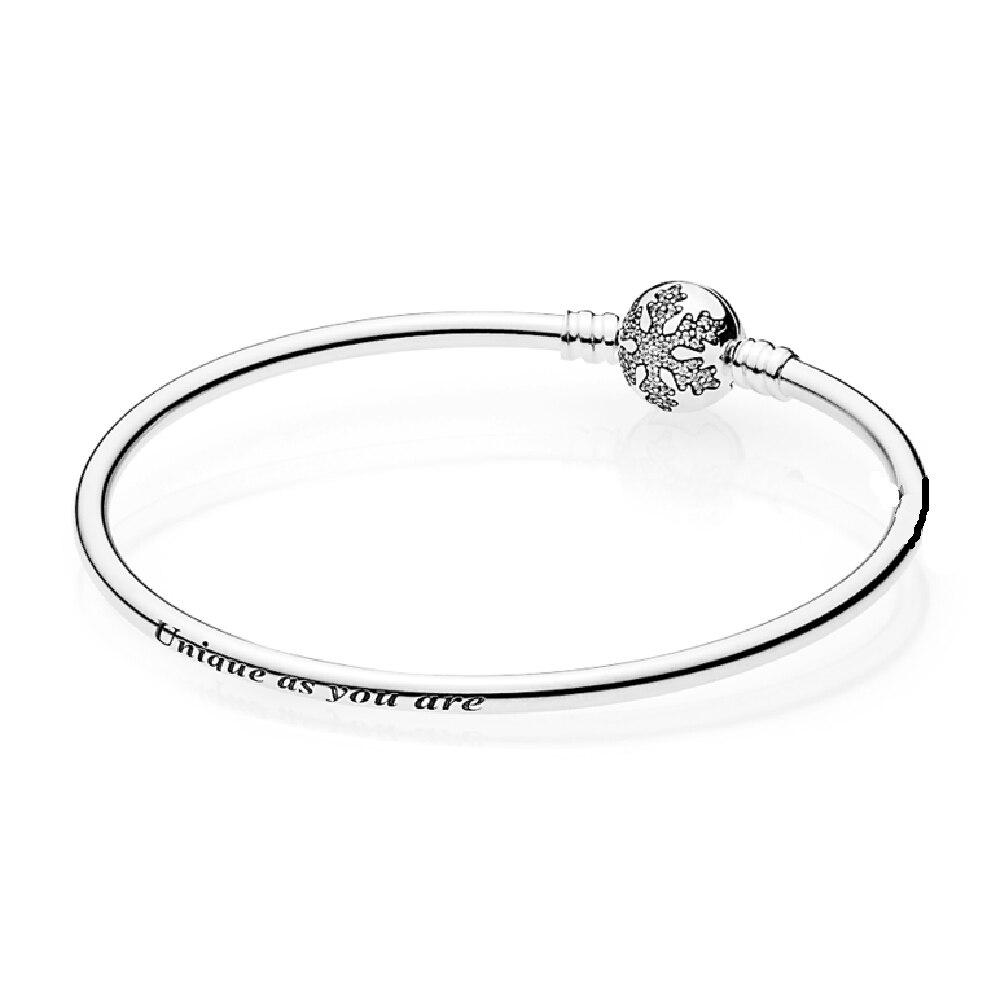"""Authentique 100/% 925 Sterling Silver Snowflake Zircon Cubique /""""unique que vous êtes/"""" Bangle"""