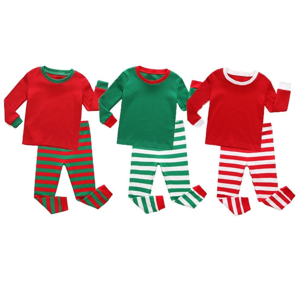 Mode Kinder Weihnachten Baby Pyjamas Sets Kinder Nachtwäsche Weihnachten Streifen Pijamas Für 1-8years Baby Baumwolle Nachtwäsche Pyjamas Kinder Reines Und Mildes Aroma