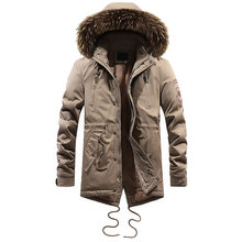 Fashion Winter Jacket Men Long Coat Hooded Thick Warm Parka Men Faux Fur Collar Velvet Military Casual Jacket Cargo Tops Outwear(China)