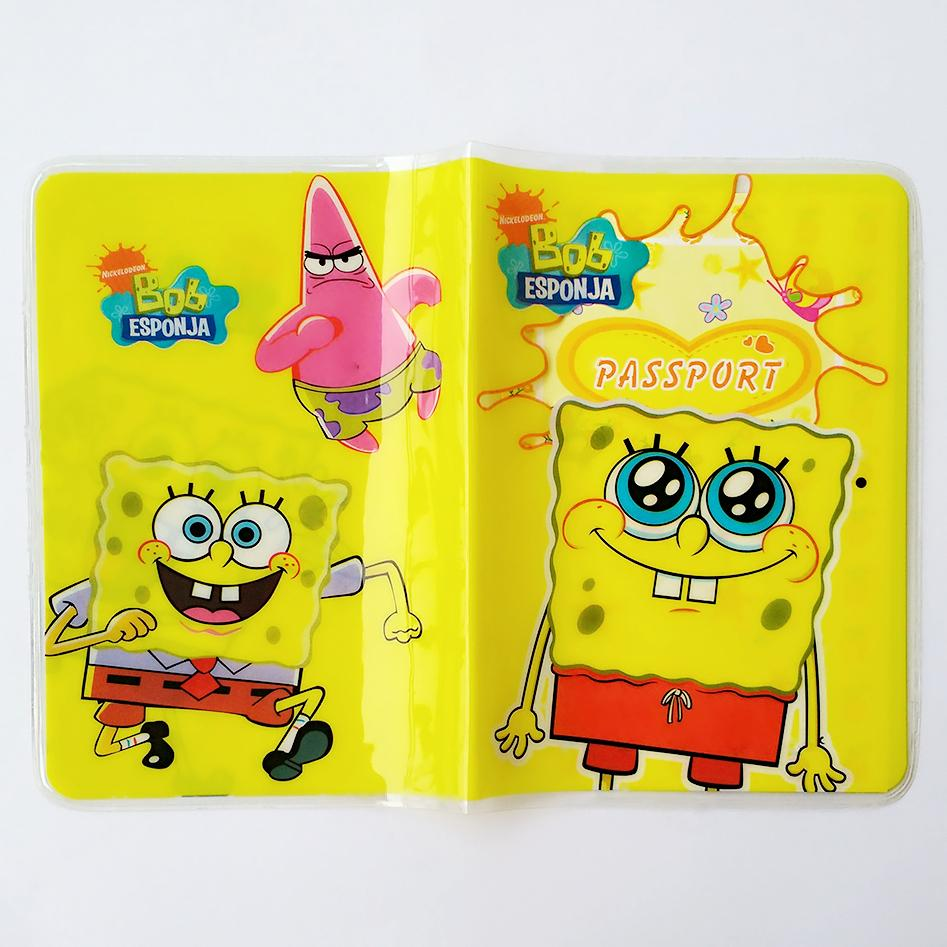 PVC/PU Leather ID Holders Cartoon spongebob Passport Holder VS Travel Passport Cover Card Case cover to passport pu cartoon travel accessories passport cover with size 5 5 3 8 minions