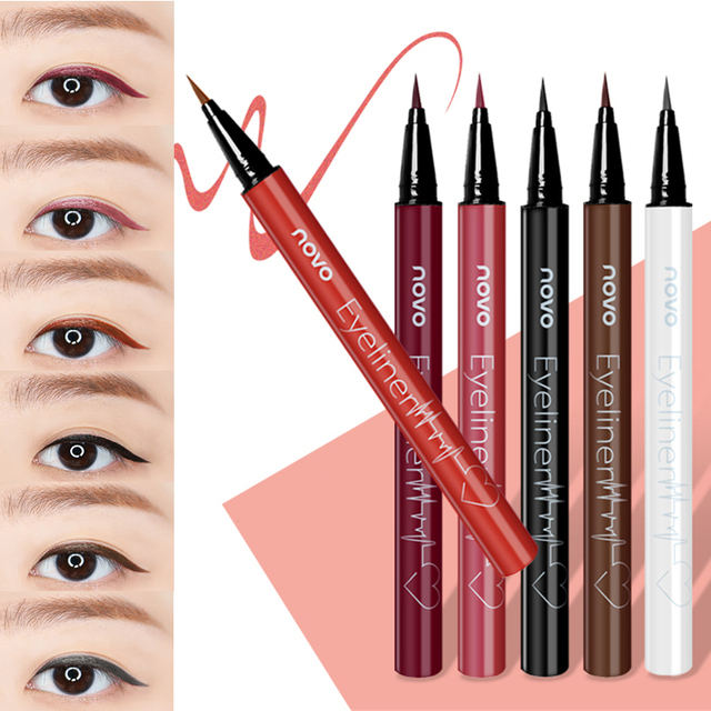 6 Color Liquid Eyeliner Pencil NOVO Cosmetics Eye Makeup Long Lasting Waterproof Black Eye Liner Pen Women Make Up 1