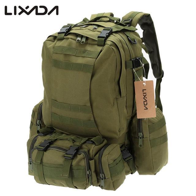 Spedizione Gratuita Lixada 50L Outdoor Militare Molle Zaino Tattico Zaino  Campeggio Trekking Borse Resistente All'