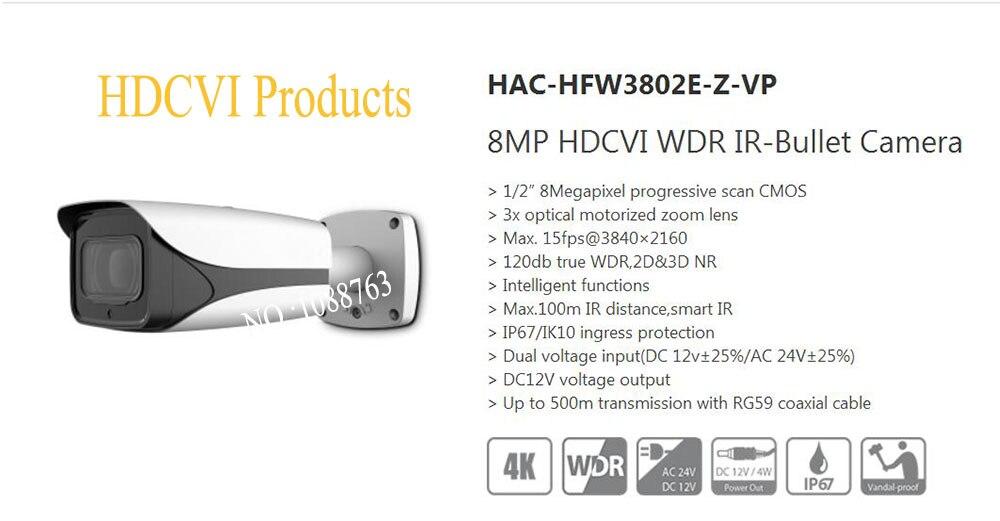 Free Shipping DAHUA Security CCTV Camera 8MP HDCVI WDR IR-Bullet Camera IP67 IK10 Without Logo HAC-HFW3802E-Z-VP free shipping dahua cctv camera 4k 8mp wdr ir mini bullet network camera ip67 with poe without logo ipc hfw4831e se