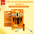 4Pcs/pack 1.2V 450mAh USB Rechargeable Battery AAA Rechargeable Battery NI-MH Batteries USB AAA Batteria For toys Drop shipping