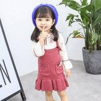 baby girl winter dress infant toddler kids overall cute cartoon children clothes set knit sweater jumper tops autumn casual wear