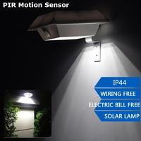 Waterproof Solar Powered 4 LED PIR Motion Sensor Outdoor Wall Light Garden Yard Path Lamps ABS