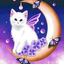 5D DIY Diamond Painting Moon Cat Butterfly Pattern Round Diamond Embroidery Full Drill Mosaic Stickers Cross Stitch цена