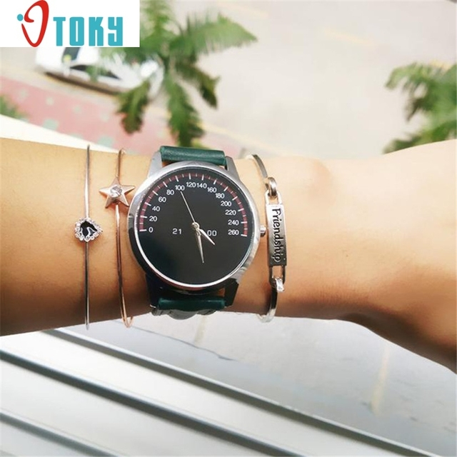 Hot hothot Wristwatch Bangle Bracelet Watches Women Ladies Leather Band Analog Q