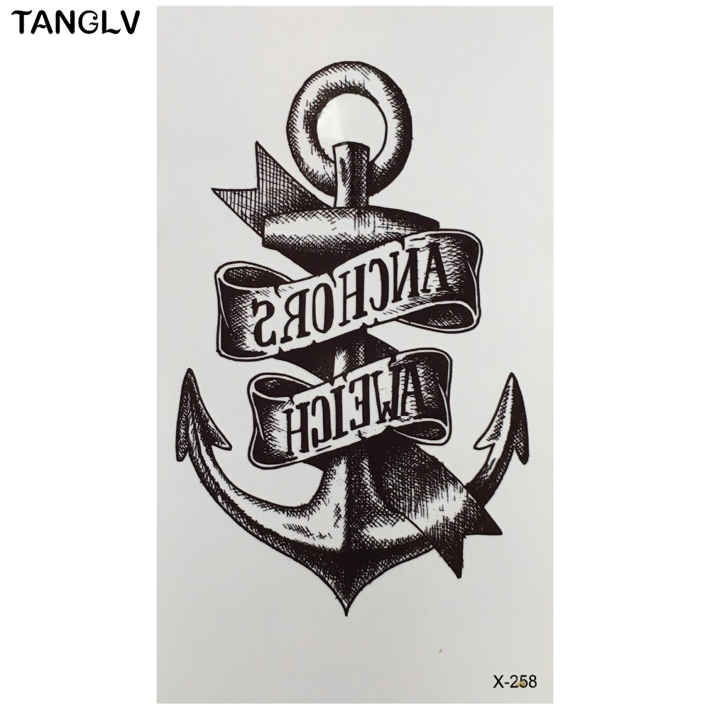Marine pirate anchor temporary tattoo body art arm flash for Painless permanent tattoos