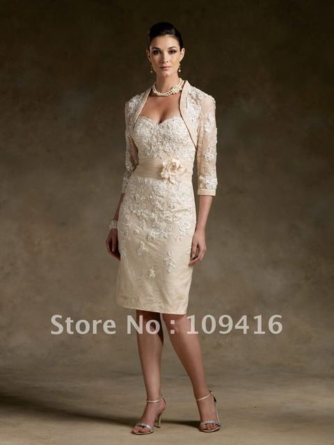 Free shipping 2012 sweet-heart ivory free jacket long lace sleeve mother of the bride dress