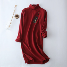 2018 autumn winter Cashmere cotton blend elegant Turtleneck Straight design long sleeve dress women vestidos robe casual dresses