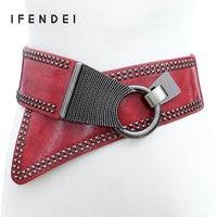 IFENDEI PU Leather Belt Women Luxury Punk Rivets Strap Elastic Fashion Wide Waist Belt Decoration For