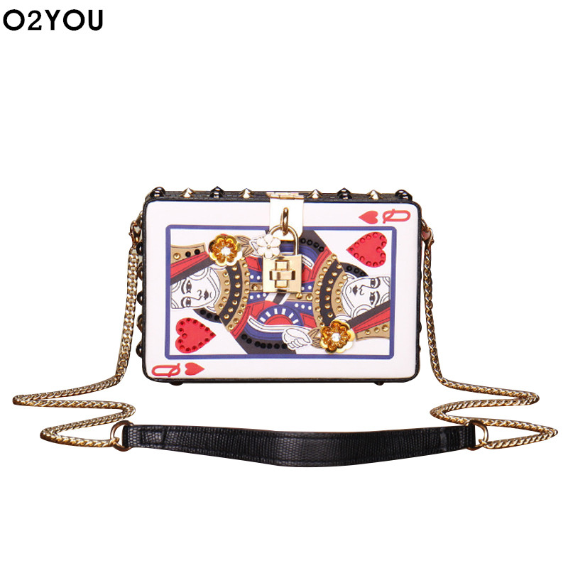 Playing CARDS bag women cute Hearts poker pattern A J Q K box chains rivets messenger bag appliques party Fashion Shoulder Bags bicycle karnival earthtone9 deck playing cards