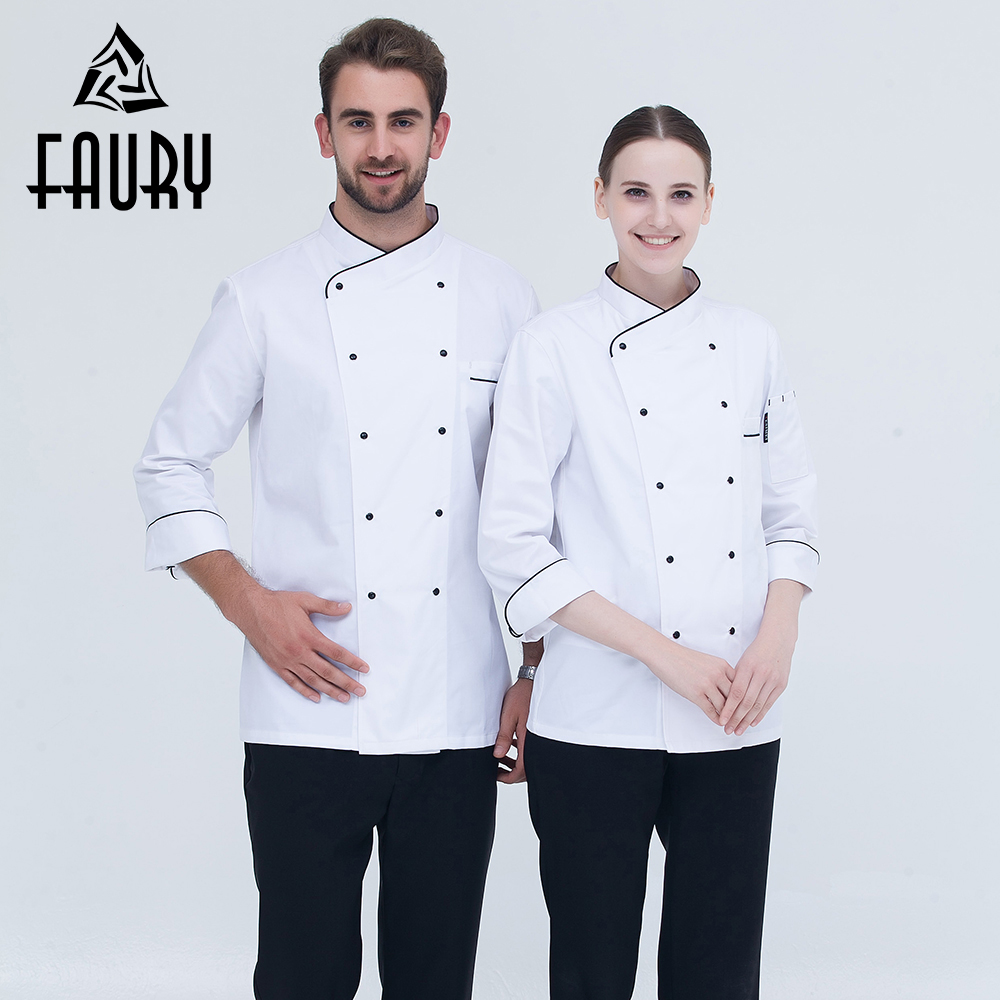White 2018 Restaurant Kitchen Cooking Uniforms Long Sleeve Double Breasted Hotel Waiter Food Service Cozinha Chef Work Overalls