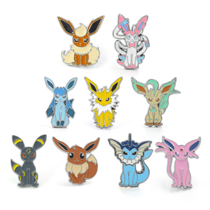Wellcomics Game Pokemon Eevee Espeon Jolteon Flareon Vaporeon Sylveon Metal Badge Pin Brooch Chest Button Cosplay Collection Hot