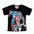 Verano estilo de Animación Capitán América patrón de Dibujos Animados Capitán América Tops Marcas Infantil Chicos Camisetas Niños de Manga Corta camiseta