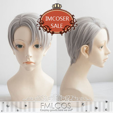 High Quality Anime YURI!!! on ICE / Yuri On Ice Victor Nikiforov Short Gray Mixed Styled Cosplay Wig Synthetic Hair Cos WIgs
