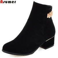 ASUMER Plus size 34 43 fashion women boots round toe nubuck square heels autumn ankle boots for women ladies shoes female