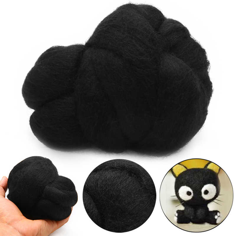 New Black Wool Fiber 50g Dyed Wool Tops Roving Felting Wool For Needle Felting Handmad DIY Sewing Crafts Doll Animal