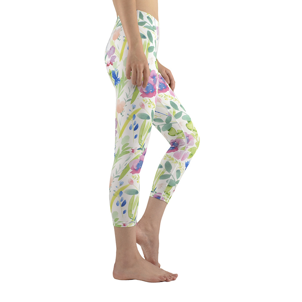 Watercolor Flowers Blossom Floral Yoga Pants Running Sports Clothes