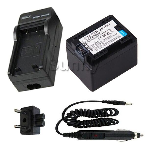 BP-727 Batterie + Chargeur pour Canon LEGRIA HF R36, R37, R38, R46, R48, R306, R406 et LEGRIA HF M52, M56, M506, M60 HD Caméscope