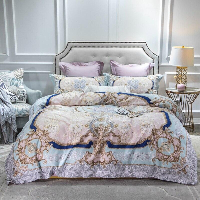 โบฮีเมียผ้าฝ้ายอียิปต์แบน/ผ้านวมผ้าคลุมเตียงติดตั้งแผ่น 4Pcs Queen King ชุดเครื่องนอนชุด parure de lit ropa de cama-ใน ชุดเครื่องนอน จาก บ้านและสวน บน   1