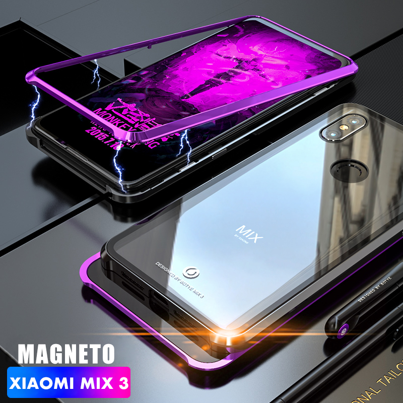 ADKO Magnetic Adorption Metal Bumper Glass Case For Xiaomi Mi Mix 3 Shockproof Transparent Glass CoverADKO Magnetic Adorption Metal Bumper Glass Case For Xiaomi Mi Mix 3 Shockproof Transparent Glass Cover