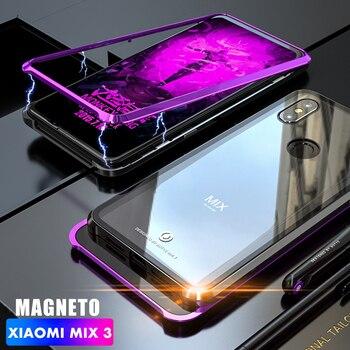 45d24bfa5f7 Funda de vidrio de parachoques de Metal de adorción magnética ADKO para  Xiaomi mi x 3 cubierta de vidrio transparente a prueba de golpes