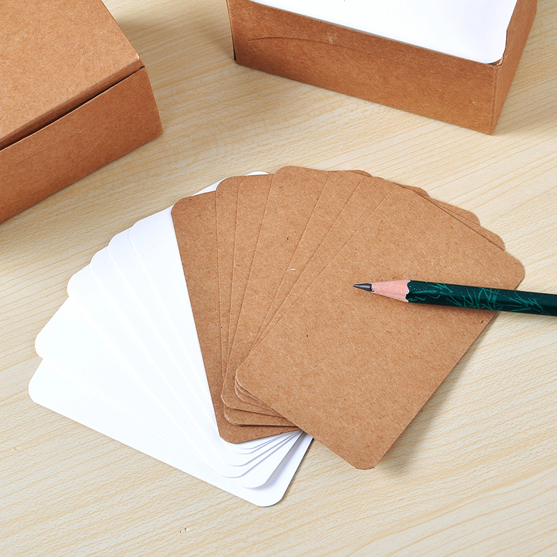 100 Sheets/box DIY Word Cards Blank Post Card Kraft Thick Double-sided paper word Sketch Doodle lumiparty 100pcs double sided blank kraft paper business cards word card message card diy gift card 30