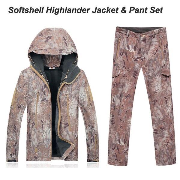 Highlander TAD military Uniforms Waterproof Windproof Jacket Hoody TAD softshell Jacket & pants Kryptek camo softshell sets