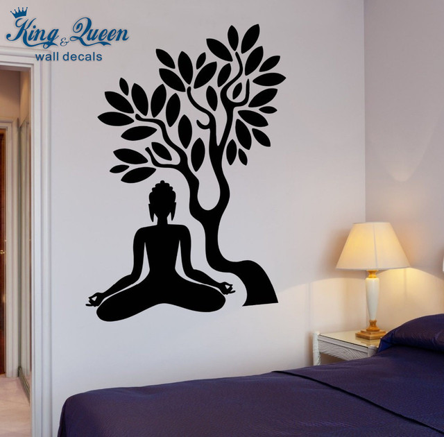 Exceptional Buddha Vinyl Decal Buddha Tree Blossom Yoga Meditation Relaxation Zen Mural Art  Wall Sticker Living Room