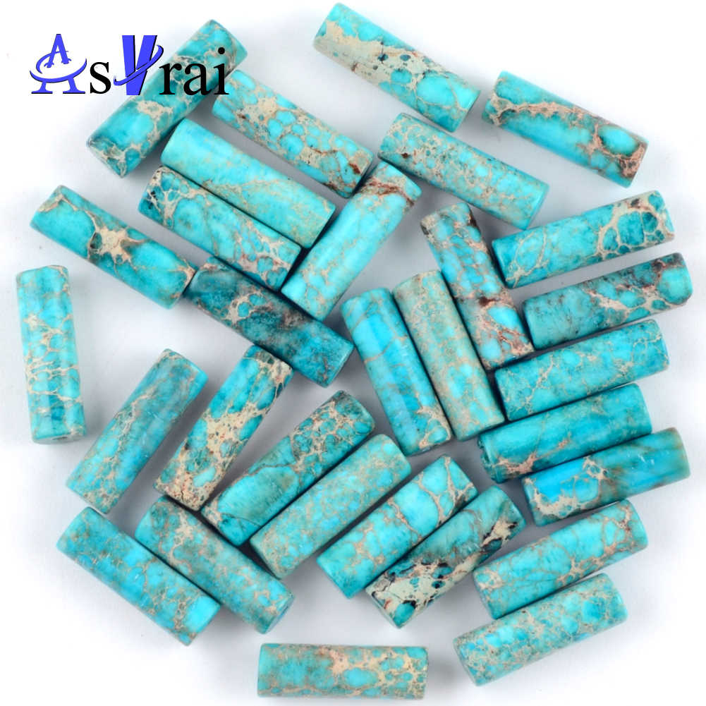 Natural Lake Blue Sea Sediment Jaspers Tube Spacer Beads for Needlework Jewelry Making 4*13mm Column Beads Diy Women's Bracelets