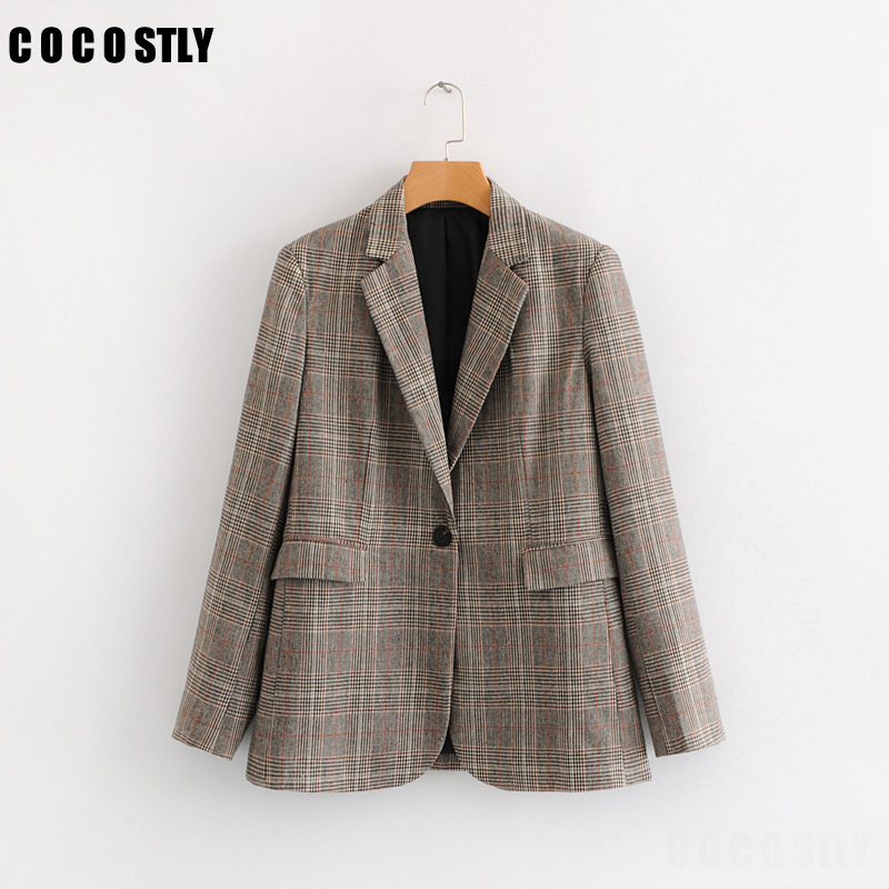 Office Lady Plaid Blazer Women 2019 Autumn Suit Bl