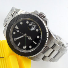 40mm parnis Black Dial Sapphire Glass gmt Luminous Marks SS ceramic bezel Automatic Movement mens Watch