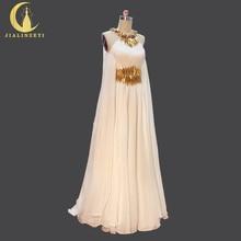 รูปภาพจริงขายร้อนทองลูกปัดHalterชีฟองความยาวCapeชุดปาร์ตี้อย่างเป็นทางการEvening Dresses 2020