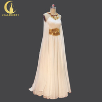 Real Picture Hot Sale Gold Beads Halter Chiffon FLoor Length with Cape Party dress Formal Dress Evening Dresses 2018