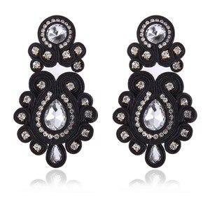 Image 5 - KPacTa Fashion Soutache orecchini lunghi gioielli donna cristallo orecchini fatti a mano orecchini stile etnico abbigliamento boucle doreille femme