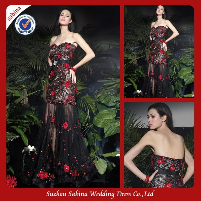 ca9b0d62a5 P0539 Long Black Lace See Through Red Rose Prom Dresses-in Prom ...