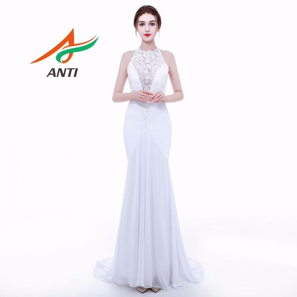 Robe de soirée ANTI sirène blanche Robe De soirée longue 2019 Appliques perles cristal Vestido de Festa col en v robes formelles Robe